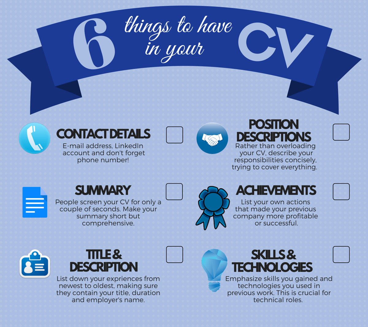 6 things to have in your cv  infographic